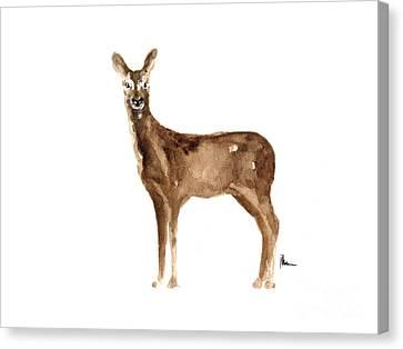 Doe Original Artwork Watercolor Painting Canvas Print by Joanna Szmerdt