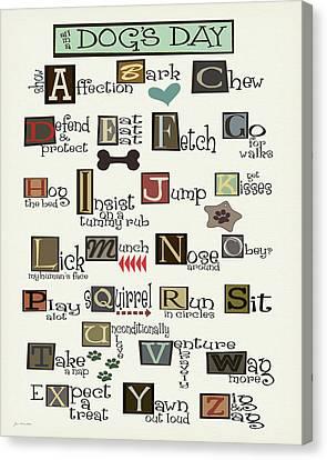 Dog Alphabet Canvas Print by Jo Moulton