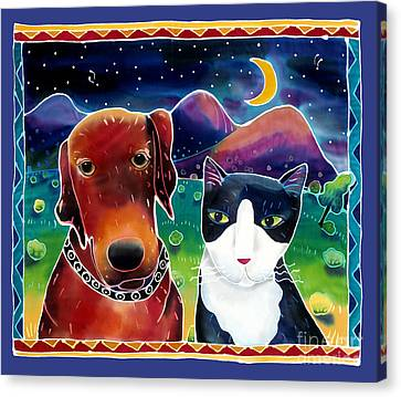 Dog And Cat In The Moonlight Canvas Print by Harriet Peck Taylor