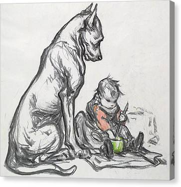 Dog And Child Canvas Print by Robert Noir