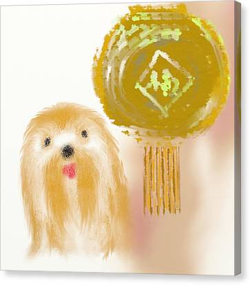 House Pet Canvas Print - Dog And Lantern by Len YewHeng