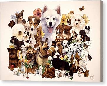 Dog And Puppies Canvas Print by John YATO