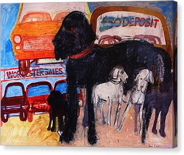 Dog At The Used Car Lot, Rex Gouache On Paper Canvas Print by Brenda Brin Booker