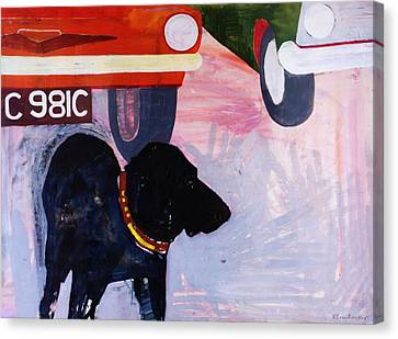 Dog At The Used Car Lot, Rex With Orange Car Gouache On Paper Canvas Print by Brenda Brin Booker