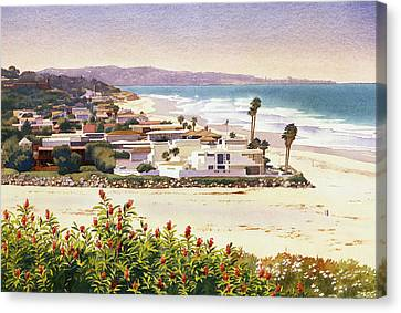 Dog Beach Del Mar Canvas Print by Mary Helmreich