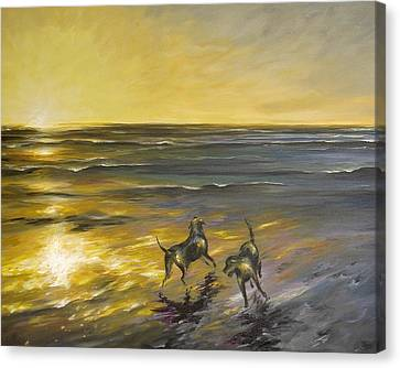 Canvas Print featuring the painting Dog Beach by Dina Dargo