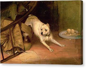 Dog Chasing A Rat Oil On Canvas Canvas Print by Briton Riviere