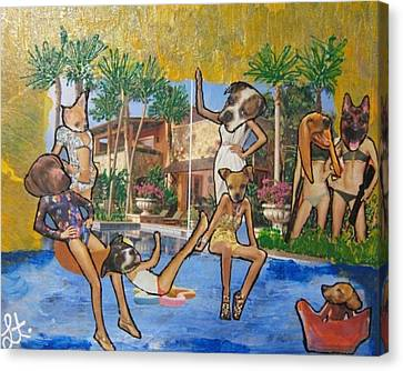 Canvas Print featuring the painting Dog Days Of Summer by Lisa Piper