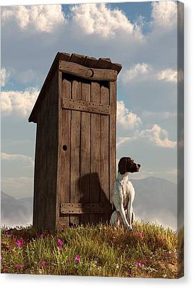 Old Time Canvas Print - Dog Guarding An Outhouse by Daniel Eskridge