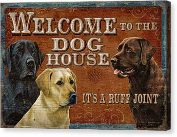 Labradors Canvas Print - Dog House by JQ Licensing