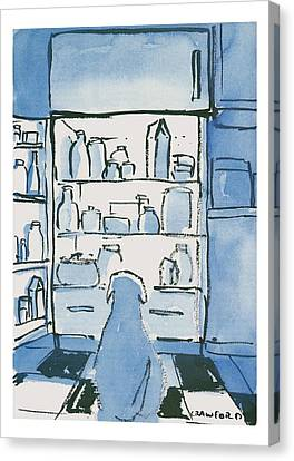 Summer Canvas Print - Dog In Front Of An Open Refrigerator by Michael Crawford