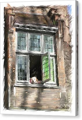 Dog In Window- Bruges Canvas Print