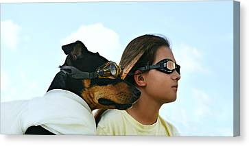 Airlines Canvas Print - Dog Is My Co-pilot by Laura Fasulo