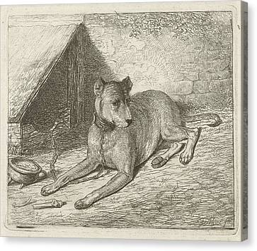 Dog On A Chain With A Doghouse, Johannes Mock Canvas Print by Artokoloro