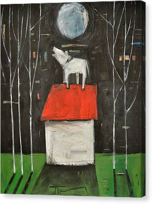 Dog On House Howls At Moon Canvas Print