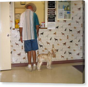 Dog Owner Dog Vet's Office Casa Grande Arizona 2004 Canvas Print by David Lee Guss