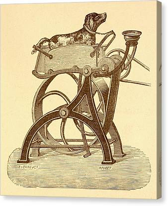 Dog Powered Sewing Machine Canvas Print by David Parker