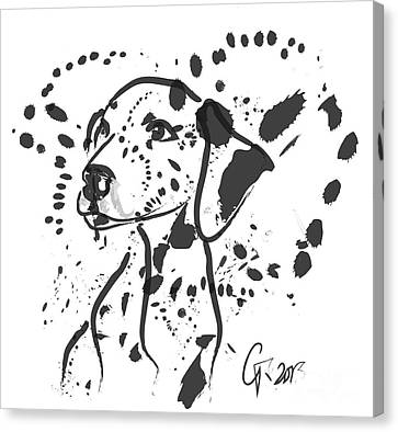 Canvas Print featuring the painting Dog Spot by Go Van Kampen