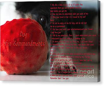 Bones Canvas Print - Dog Ten Commandments by Stelios Kleanthous