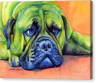 Watercolor Pet Portraits Canvas Print - Dog Tired by Hailey E Herrera