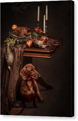 Dog Under The Table Canvas Print by Tanya Kozlovsky