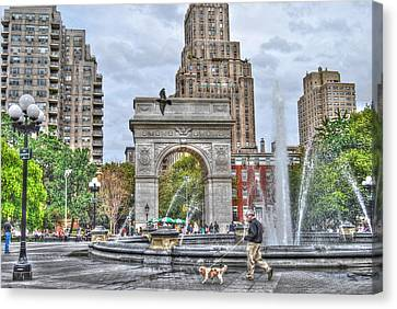 Dog Walking At Washington Square Park Canvas Print by Randy Aveille