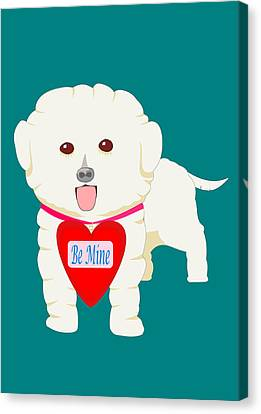 Dog With Be Mine Valentine Canvas Print