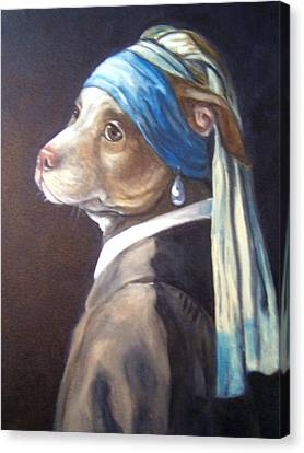 Canvas Print featuring the painting Dog With Pearl Earring by Laura Aceto