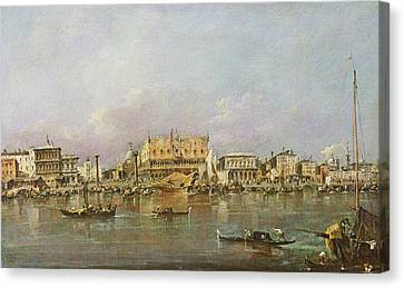 Doges Palace And View Of St. Marks Basin, Venice Oil On Canvas Canvas Print