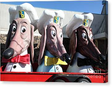 Doggie Diner Dogs - 5d20931 Canvas Print by Wingsdomain Art and Photography