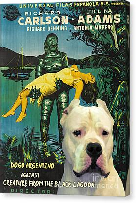 Dogo Argentino Art Canvas Print - Creature From The Black Lagoon Movie Poster Canvas Print by Sandra Sij