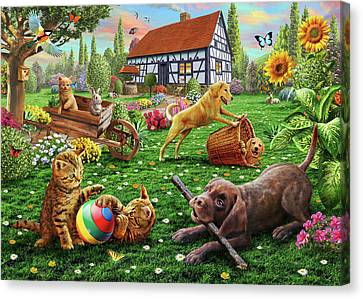 Cottages Canvas Print - Dogs And Cats At Play by Adrian Chesterman