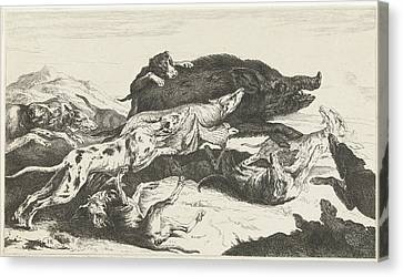 Dogs Hunt A Boar, William Young Ottley, Peeter Boel Canvas Print