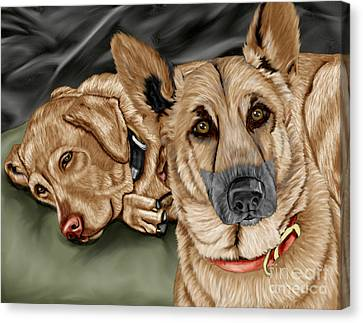 Golden Lab Canvas Print - Dogs by Karen Sheltrown