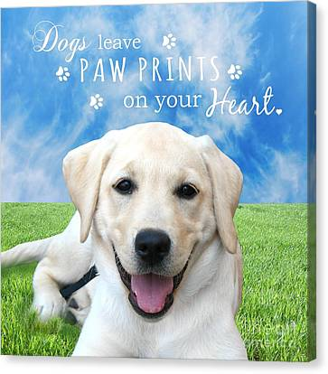 Dogs Leave Paw Prints On Your Heart Canvas Print by Li Or