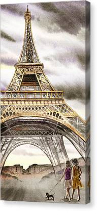 Dogs Like Paris Too Canvas Print by Irina Sztukowski