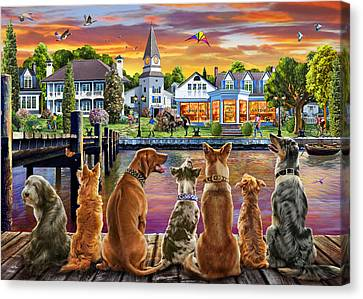 Dogs On The Quay Canvas Print by Adrian Chesterman