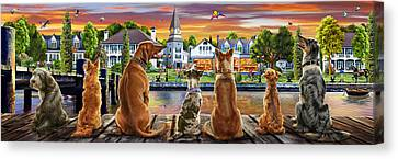 Dogs On The Quay Variant 1 Canvas Print