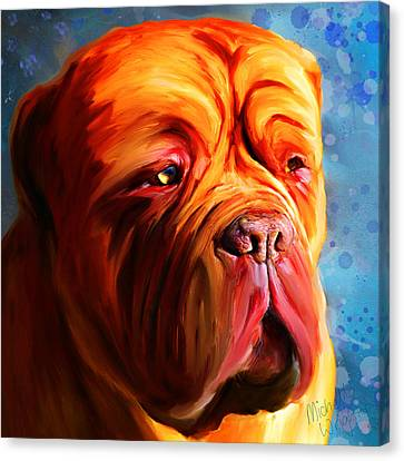 Vibrant Dogue De Bordeaux Painting On Blue Canvas Print by Michelle Wrighton