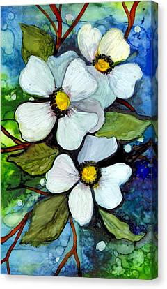 Dogwood On Blue Canvas Print