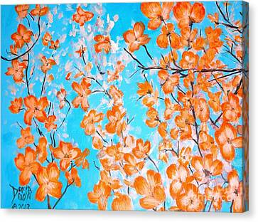 Canvas Print featuring the painting Dogwoods by Donna Dixon