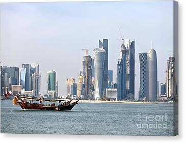Doha City Skyline 2012 Canvas Print by Paul Cowan