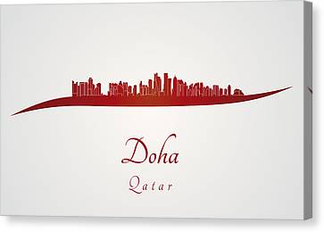 Doha Skyline In Red Canvas Print by Pablo Romero