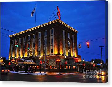 Clare Michigan Canvas Print - Doherty Hotel At Christmas by Terri Gostola