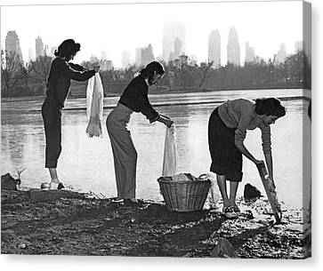Routine Canvas Print - Doing Laundry In Central Park by Underwood Archives