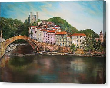 Canvas Print featuring the painting Dolceacqua Italy by Jean Walker