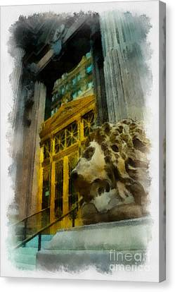 Dollar Bank Lion Pittsburgh Canvas Print by Amy Cicconi