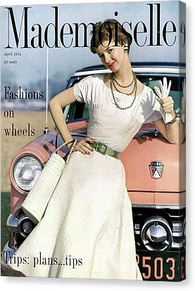 Dolores Hawkins In Front Of A Ford Crestline Canvas Print by Herman Landshoff