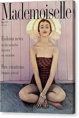 Dolores Canvas Print - Dolores Hawkins Wearing A Jantzen Swimsuit by Herman Landshoff
