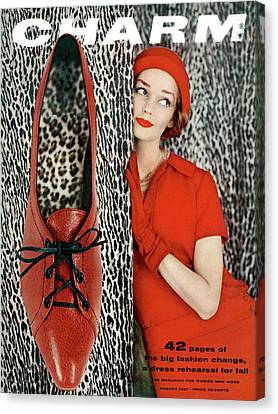 Dolores Hawkins Wears A Dachettes Hat And Red Canvas Print by Carmen Schiavone